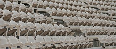 Empty chairs  before the theatrical. Empty chairs of iron before the theatrical Stock Photo