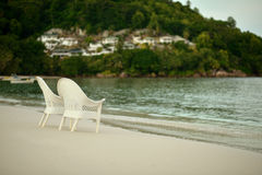 Empty chairs at the tranquil beach Royalty Free Stock Photo