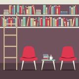 Empty Chairs Under Bookshelves Stock Photos