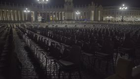 Empty chairs in Vatican square, expansion of atheism, global religion crisis. Stock footage stock video footage