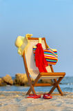 Empty chaise lounge. On wild beach Stock Photo