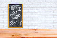 Empty chalk board on brick wall background Royalty Free Stock Images