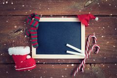 Christmas background with empty chalk board royalty free stock images