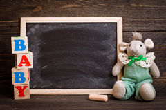 empty chalk board on  wooden background Royalty Free Stock Photos