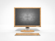 Empty chalkboard as a computer monitor icon. Representing study and technology Stock Photography