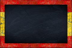 Blackboard with spanish flag frame Stock Photo