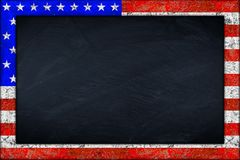 Blackboard with usa flag frame Stock Images