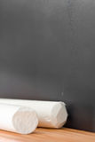 Empty chalkboard with chalk Royalty Free Stock Image