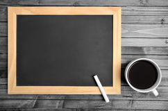 Empty chalkboard with coffee Royalty Free Stock Photography