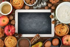 Empty chalkboard for writing recipes. And ingredients for baking, top view Stock Images
