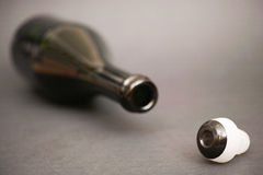 Empty champagne bottle Stock Images