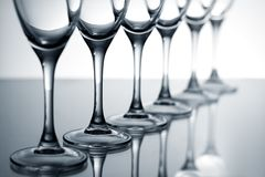 Empty champagne glasses Royalty Free Stock Images
