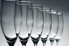 Empty champagne glasses Stock Photo