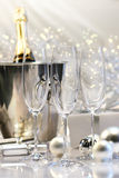 Empty champagne glasses Stock Images
