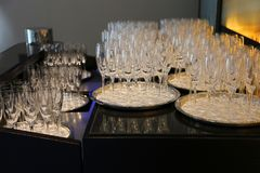 Empty champagne glasses Royalty Free Stock Photography