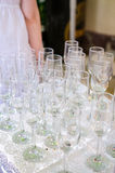 Empty champagne glasses Royalty Free Stock Photos