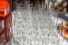 Empty champagne glasses ready for celebration on special occasions. Empty champagne glasses ready for celebration on special occasions Stock Image