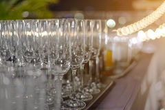Empty champagne glasses ready for party - drink Royalty Free Stock Photos