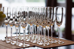 Empty champagne glasses. Champagne glasses on a table Stock Photo