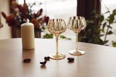 Empty champagne glasses Stock Photos