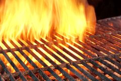 Empty Charcoal Grill With Flames Of Fire Stock Photo