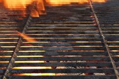 Empty Charcoal Grill With Flames Of Fire Royalty Free Stock Photo
