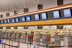 Empty check in counter. Zurich, Switzerland - June 11, 2017: Airport check-in counter empty, no people Stock Image