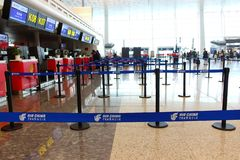 Empty check-in counters at the airport royalty free stock image