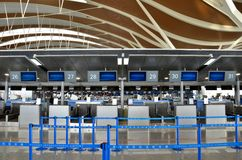 Empty check in counters at Shanghai Pudong International Airport China Stock Images