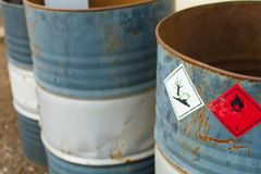 Empty chemical barrels royalty free stock image