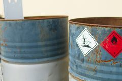 Empty chemical barrels royalty free stock photo