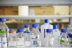 Empty Chemical Bottles In Laboratory Royalty Free Stock Image