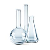 Empty chemical flasks Stock Image