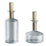 Empty chemical flasks with caps isolated 3d model Stock Photos