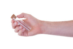Empty chemical test tube in a hand Stock Image