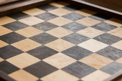 Empty chess board game wood Stock Images