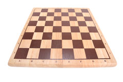Empty chessboard. Shot with wide angle lens Royalty Free Stock Photo