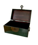 Empty Chest. Open antique green wooden chest with metal hinges and handles isolated over white Stock Image