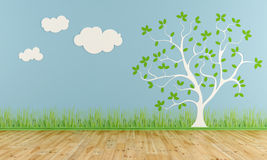 Empty child room with stylized tree and clouds Royalty Free Stock Photo