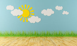 Empty child room. With sun,clouds and grass on blue wall - rendering Royalty Free Stock Photo