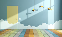 Empty child room with toy airplanes Stock Images
