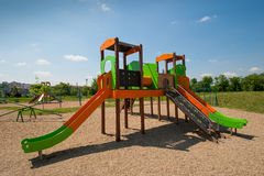 Empty children playground. In spring time near a lake in Belgrade, Serbia Stock Photography