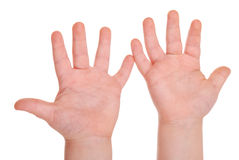 Empty children's palms on white Stock Images