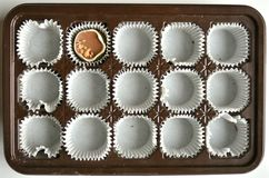 Empty chocolate box: end of diet concept. One more chocolate left. confort food concept Stock Image