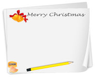 An empty christmas card template with a sharpener and a pencil Stock Photos