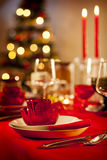 Empty christmas dinner table Royalty Free Stock Photo