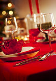 Empty christmas dinner table Royalty Free Stock Image