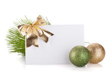 Empty christmas gift card and balls Royalty Free Stock Image