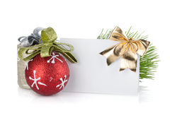 Empty christmas gift card and balls Royalty Free Stock Photography