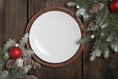 Empty Christmas Plate Royalty Free Stock Photography